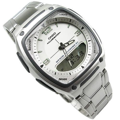 CASIO卡西歐 AW-81D-7A 雙顯錶 方型 白面 不銹鋼 37mm 男錶 AW-81D-7A【時間玩家】