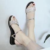 網紅涼鞋2019新款女夏平底兩穿涼鞋女學生chic百搭韓版中跟鞋子女