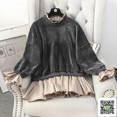 連帽T恤裙 秋冬裝新款韓版時尚寬鬆顯瘦拼接金絲絨假兩件中長款連帽T恤連身裙女 霓裳細軟