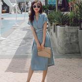 618好康鉅惠襯衫裙女夏季新款寬鬆收腰顯瘦側開叉連身裙