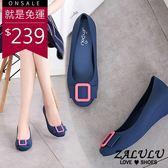 ZALULU愛鞋館 7U315 皮帶方扣設計楔型防水雨鞋-黑/灰/藍/紫-36-40