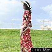民族風花色長裙波西米亞洋裝巴厘島海邊度假沙【全館免運】