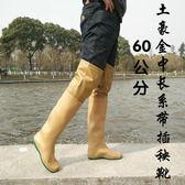 過膝高筒男女雨鞋雨靴平底軟水田鞋