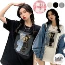 EASON SHOP(GQ0952)韓版撞色拼接卡通小熊合身貼肩圓領五分短袖素色棉T恤女上衣服打底內搭衫大碼