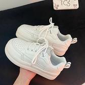 小白鞋 秋天鞋子可愛丑萌厚底小白鞋女百搭2021新款小眾原創鞋休閑運動鞋 薇薇