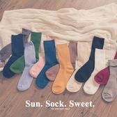 MUMU【A77281】直紋坑條素色百搭中筒襪。十三色