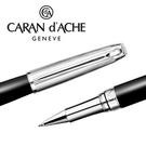 CARAN d'ACHE 瑞士卡達 LEMAN 利曼霧黑漆鋼珠筆(銀蓋) / 支