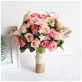 婚紗影樓攝影拍照道具新娘手捧花結婚新款粉紅白仿真韓式婚禮花束