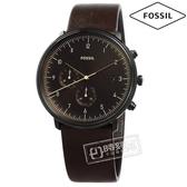 FOSSIL / FS5485 / 都會魅力 礦石強化玻璃 計時功能 日期 日本機芯 真皮手錶 深褐色 42mm