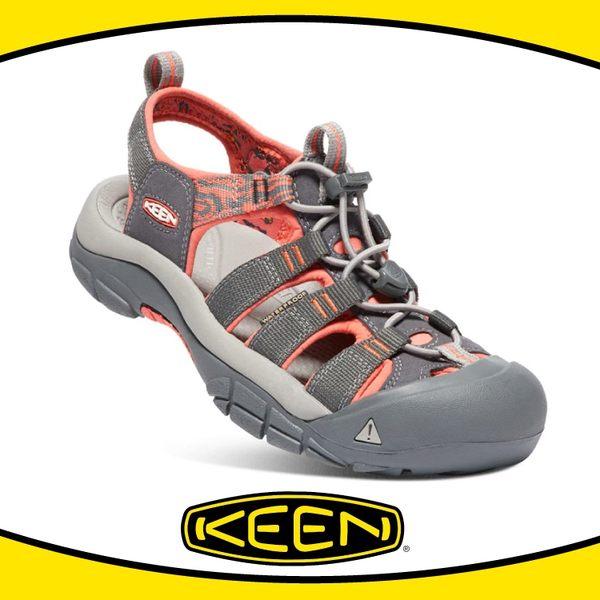 【KEEN 美國 女 護趾涼鞋《深灰/粉橘》】1018947/快乾/防水/水陸兩用鞋/涼鞋/休閒涼鞋
