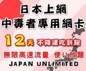 (插卡即用) 12天日本上網中毒者專用高速4G不降速吃到飽方案/日本網卡吃到飽/日本網路卡