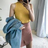 背心簡約素色針織衫吊帶彈力短款顯瘦打底上衣女學生 全館免運