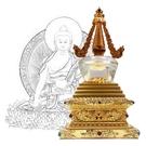 12公分 純銅菩提塔 釋迦牟尼佛 塔底可裝藏 金色琉璃