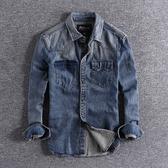 長袖襯衫 新款英倫懷舊復古水洗潮款長袖厚實質感修身男士牛仔襯衫外套