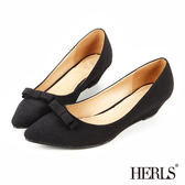 跟鞋-HERLS 內真皮 蝴蝶結楔型跟鞋-黑色