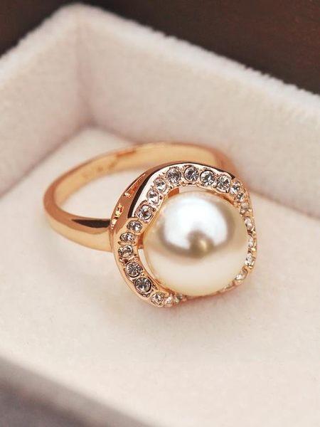 618大促 日韓國時尚人造珍珠食指戒指指環女指環潮人簡約配飾裝飾品 百搭潮品
