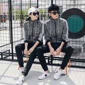 2018新款秋季情侶運動套裝男女韓版時尚寬鬆休閒裝連帽衛衣兩件套