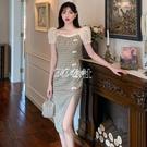 旗袍 夏季新款連身裙復古國風格子旗袍盤扣開叉收腰直筒泡泡袖裙子