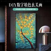 diy冠格數字油畫玄關三聯掛畫壁畫客廳背景墻手繪填色油彩裝飾畫