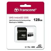 Transcend 創見 micro SD 330S 128G 遊戲機適用 記憶卡 ( U3 / V30 / A2 / 4K )