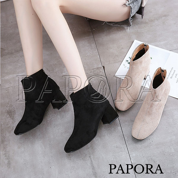 PAPORA網紅熱銷款粗跟短靴中筒靴(偏小一碼)KA968