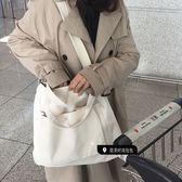 韓國學生原宿風ins斜背包簡約百搭大容量單肩chic帆布包手提包夏  檸檬衣舍