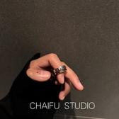 戒指 風簡約S925純銀做舊個性雙層鍊條鑲石一排鑚復古戒指 小天後