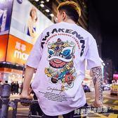 日系潮牌短T 二件八五折 日系潮牌短袖男女夏季街頭嘻哈惡搞T恤中國風情侶裝國潮半袖