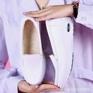 護士鞋 氣墊護士鞋秋季女新款舒適防滑白色坡跟平底真皮透氣防臭軟底 星河光年