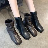 快速出貨 短靴 短靴女春秋單靴子2020秋款 方頭后拉鏈黑色帥氣ins網紅瘦瘦靴