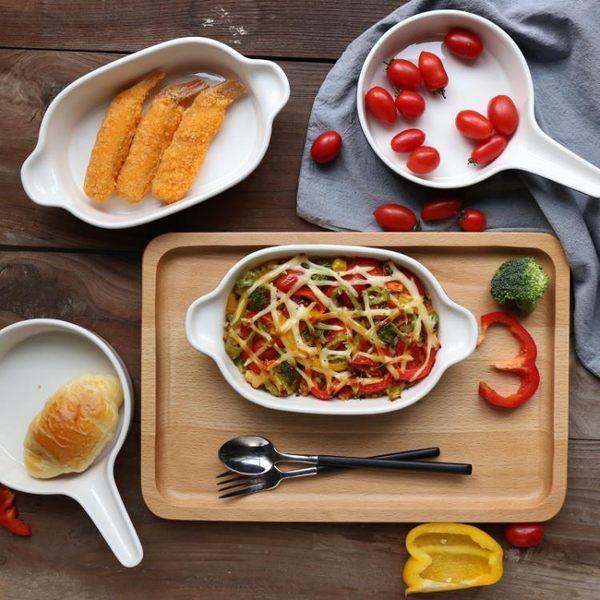 單雙耳陶瓷烤盤焗飯烤碗烘焙模具意面盤子