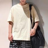新款 季短袖男士t恤五分袖文藝白色衣服情侶裝韓版潮流半袖   蜜拉貝爾
