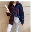 秋冬新款全棉法蘭絨寬鬆撞色格子長袖襯衫(紅/藍 杏/咖啡) 12112111