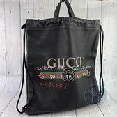 BRAND楓月 GUCCI 古馳 494053 黑色 皮革 手提包 後背包 復古印花 塗鴉版 購物袋 2WAY