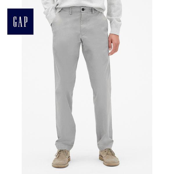 Gap男裝 基本款舒適直筒彈力卡其褲 526130-冷灰色