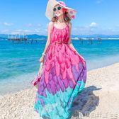 波西米亞洋裝 巴厘島沙灘裙女夏顯瘦馬爾代夫吊帶海邊度假波西米亞長裙 寶貝計畫
