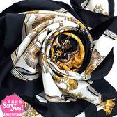【奢華時尚】秒殺推薦!HERMES 白色底藍色邊空馬車織帶印花90公分絲質大披肩圍巾(八五成新)#22092