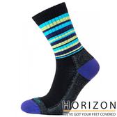 【HORIZON】女 MERINO PREMIUM羊毛輕量健行襪 HO-2310『灰黑/藍綠條紋』休閒|保暖襪|羊毛
