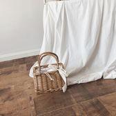 【熊貓】手提包新款編織包女ins草編包手工藤編包