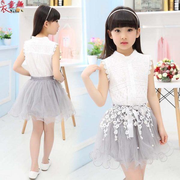 衣童趣 ♥韓版女童 氣質款連身無袖套裝 繡花蕾絲 花童 蕾絲上衣 紗網短裙套裝