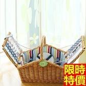 野餐籃 餐具組合-彩色條紋四人份戶外郊遊用品68e36【時尚巴黎】