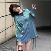 網紅復古襯衫女設計感小眾上衣blingbling光澤感長袖襯衣夏705DC252-C依佳衣