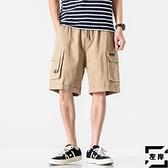 工裝短褲男寬鬆直筒休閒五分褲沙灘褲素色【左岸男裝】