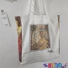 帆布包 英國博物館穆夏復古油畫帆布包側背包手提袋購物袋學生書包托特包寶貝計畫 上新