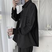 長袖襯衫黑色襯衫男長袖港風日系韓版潮流帥氣休閒工裝襯衣男士寬鬆外套男  【618 大促】