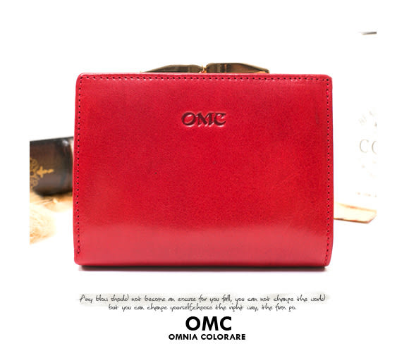 OMC - 原皮魅力真皮系列兩用零錢扣短夾 - 經典紅
