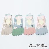 【Tiara Tiara】條紋微笑隱形五指襪(粉紅趾/藍灰趾/草綠趾/卡其趾)