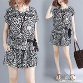韓版寬鬆中大尺碼 女裝夏裝遮肉兩件套顯瘦洋氣減齡時尚短袖短褲套裝潮