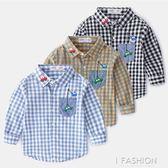 洋氣刺繡兒童襯衣純棉薄款寶寶格子上衣秋裝新款童裝男童襯衫長袖-ifashion