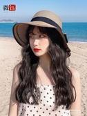 假髮帽漁夫帽子女韓版潮遮陽假髮帽子一體時尚網紅款長卷髮太陽帽女防曬 萊俐亞